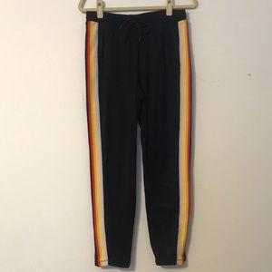 Rainbow stripe track pants